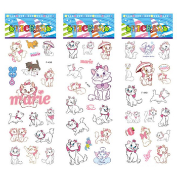 6 sheets/set The Aristocats pattern bubble stickers for kids decor on notebook Marie Cat 3D sticker doodle toy stickers image