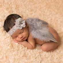 Newborn photography Props  Baby Feather Lace Headband Angel Wings Flowers Photo Props