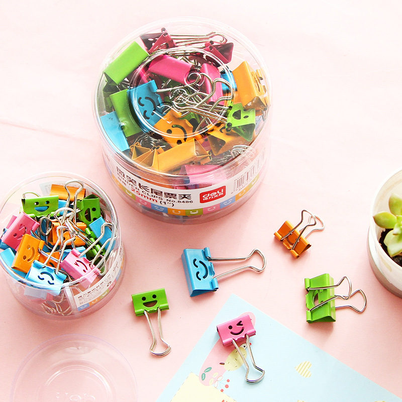 10Pcs/Lot Candy Color Useful Smile Binder Clips Office Books File Paper Organizer Clip Food Bag Clips Note Clips 19mm 25mm