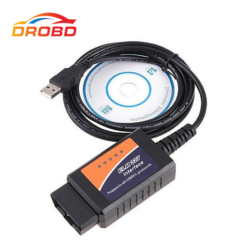OBD/OBDII Scanner ELM327 USB FTDI FT232RL Chip ELM 327 Car Diagnostic Interface Scan Tool Supports all OBD 2 Protocols Diag Tool