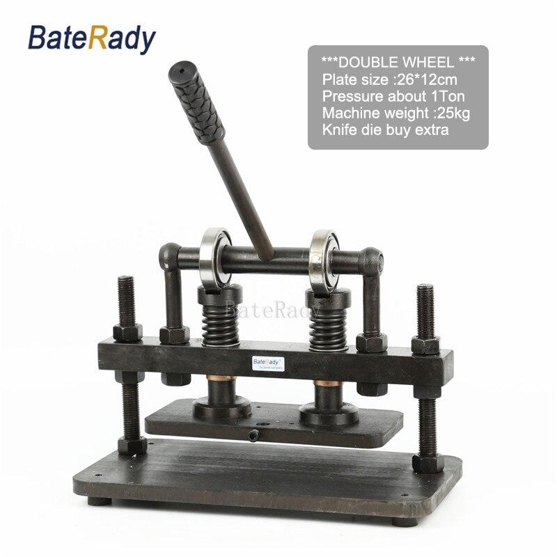 Découpeuse en cuir de main de Double roue de 26x12 cm, papier photo de BateRady, coupeur de moule de feuille de PVC/EVA, machine de découpage en cuir
