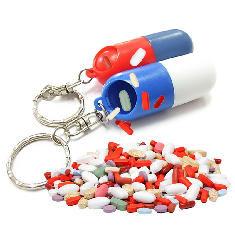 1Pc Plastic Pill Box Medicine Case Container Bottle Holder Keychain Carabiner Outdoor Pill Case Pillbox Portable