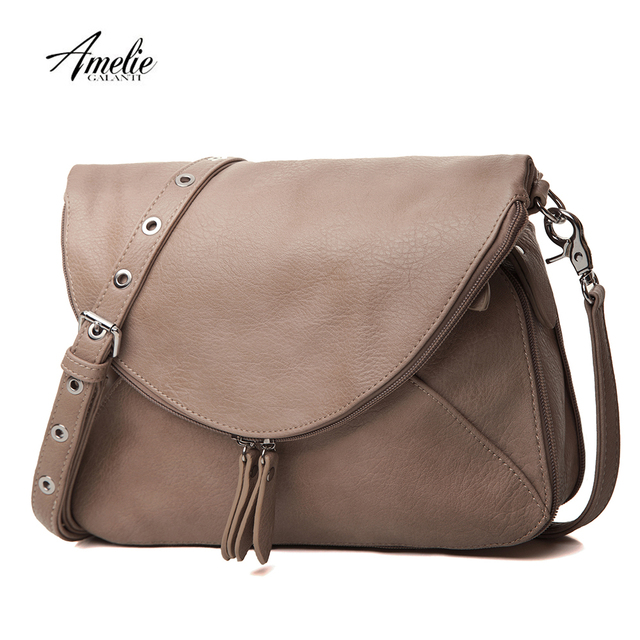 AMELIE GALANTI Двусторонняя женская сумка расширяющаяся сумка через плечо с молнией PU кожаная сумка для женщин 2018 Повседневная Сумка-тоут