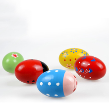 Children Wooden Sand Eggs Instruments Percussion Musical Toys Random Color(China)