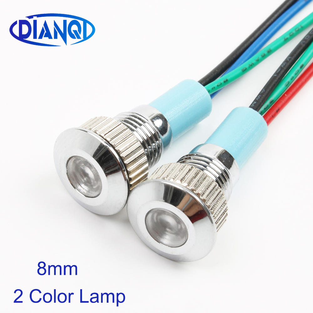 LED Metal Indicator Light 8mm Waterproof Signal Lamp Dot LIGHT With Wire Red Yellow Blue Green White Two-color Indicator Lamp