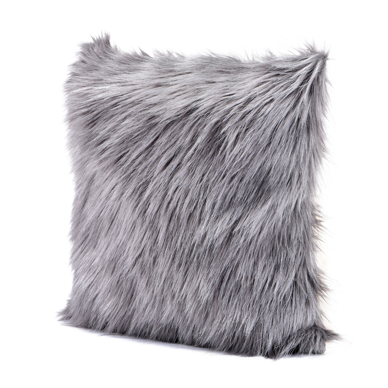 Bed Room Decorative Pillow Case Grey Fuzzy Faux Fur Throw