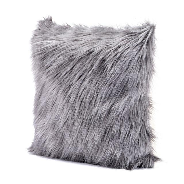 lit chambre decoratif taie d oreiller gris fuzzy fausse fourrure coussins sans remplissage 45x45 cm