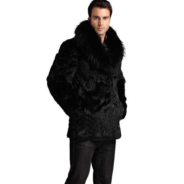 Лучшие продажи! Зимняя мужская куртка из искусственного меха. Теплые и комфортные куртки свободного покроя из черного кроличьего меха. Куртки с воротниками из длинного лисьего меха.