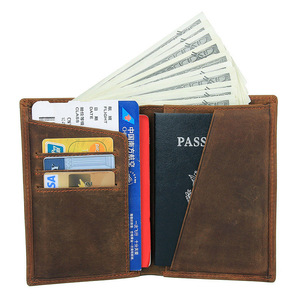 Image 3 - Crazy Horse Leather Bag Purse Retro Card Case Pack Long Passport Cover Business Men Cowhide Travel Passport Holder