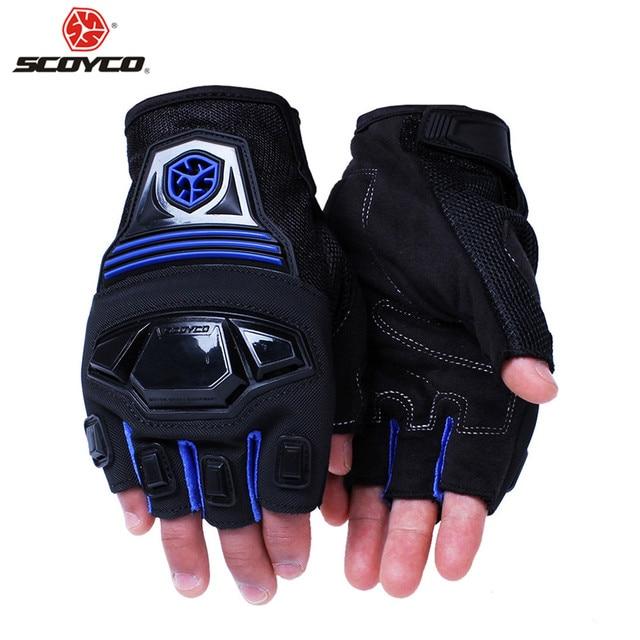 Scoyco Gloves Motorcycle Half Finger Protective Rubber Shell Motocross M2457 Guantes Luvas Para Moto Bike Motociclista Summer