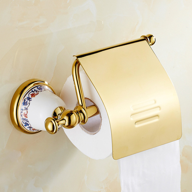 2 Style Antique Brass Toilet Paper Holder Shelf Gold Retro Kitchen