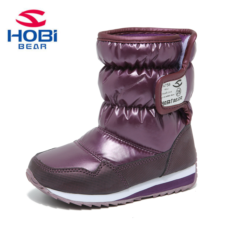 HOBIBEAR Girls Winter Boots Boys Genuine Kids Shoes Fur Lining Warm Waterproof Non-slip Snow Baby Beatiful Children shoes A757