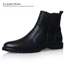 Men Shoes Luxury Brand ELANROMAN Russian Favorite Item font b Men s b font Black Genuine
