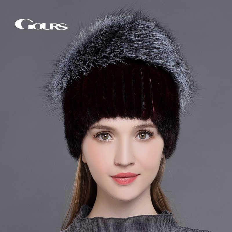b73f34e3b6b3c ... Gours натурального меха норки Шапки для Для женщин Настоящее Silver Fox  меховые шапки русской зимы теплые ...