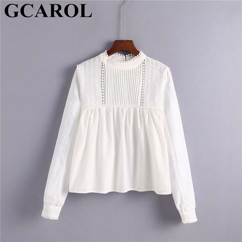Blouses & Shirts Canwedance New Holiday Embroidery Lace Doll Style Shirts Women Boho Blouses Slash Neck Lantern Sleeve Cute Top Shirts Casual Top