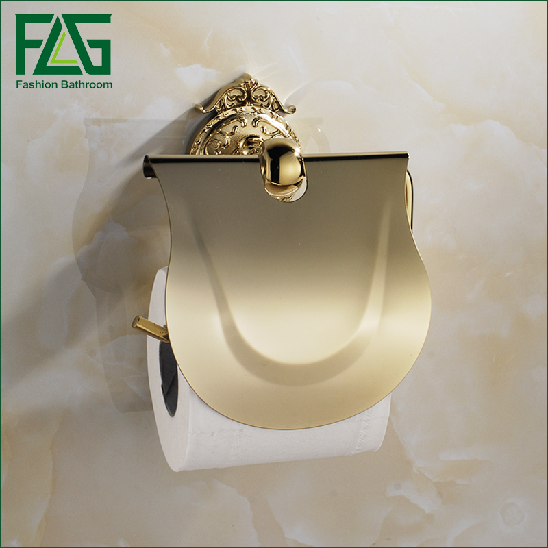 FLG Luxury Toilet Paper Wall Mounted roll holder toilet gold paper holder tissue box Paper Towel Rack Bathroom Accessories  the paper carton wall plastic roll plastic creative paper towel box paper market box carton
