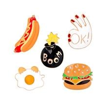 Hamburger Hot Dog OK BOOM Poached Eggs Brooch Jewelry Cartoon Enamel Food Brooches Pins Denim Pin Button Shirt Badge Broches