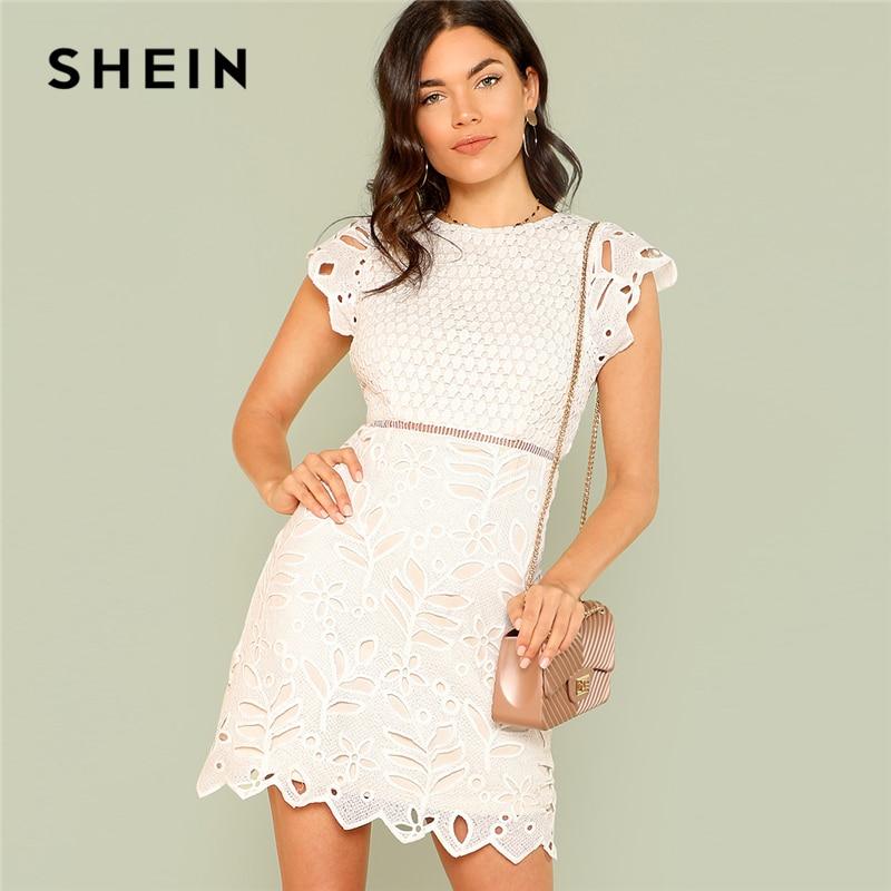 SHEIN Zip Back Crochet Lace Dress 2018 Summer Round Neck Cap Sleeve Zipper Sheath Dress Women White Solid Party Going Out Dress