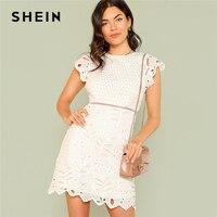 SHEIN Zip Back Crochet Lace Dress 2018 Summer Round Neck Cap Sleeve Zipper Sheath Dress Women