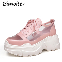 Bimolter Hot Brand Platform Luxury Genuine Leather High Heels Lace up Women Pumps Transparent thick Bottom Casual Shoes FC072 superstar lace up platform thick bottom high heels wedge women pumps square toe sneaker casual elegant big size oxford shoe l5
