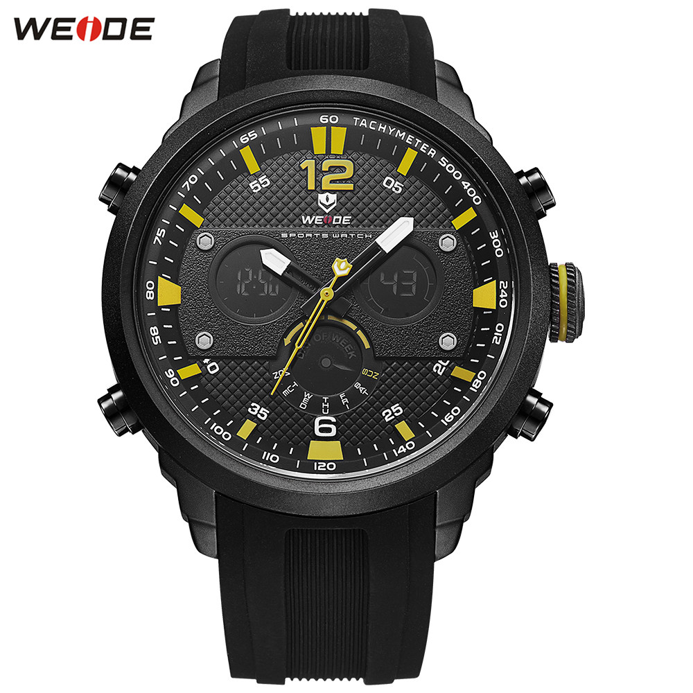 Original Top Brand Fashion WEIDE LED Watch Waterproof Sport Watch Men Digital Quartz Watch Stopwatch Silicone Band Wristwatches weide original brand sports military watch men fashion quartz wrist watch pu band 30m waterproof multifunctional sale items