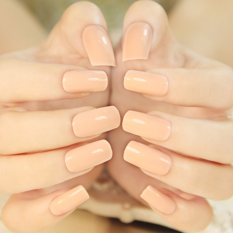 Medium Length Beige Nail Art Patch Fake False Finger Artificial Acrilic Display Decals Tips 4 19804 In Nails From Beauty Health