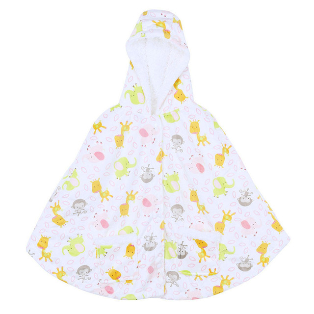 Baby Winter Hooded Cloak Thickening Coat Cartoon Soft Outwear Fleece Cloak Jumpers Mantle Children's Clothing Poncho Cape