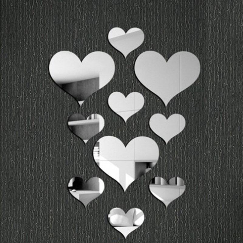 unidsset moda decoracin dulce amor en forma de corazn espejo de pared pegatinas de plata de oro sala de espejos decorativo
