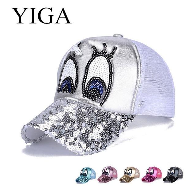 3cbae917fef YIGA 2017 New glitter eyes Summer baseball cap cool snapback hats net cap  casquette Sequin Baseball Hats Mesh Caps wholesale