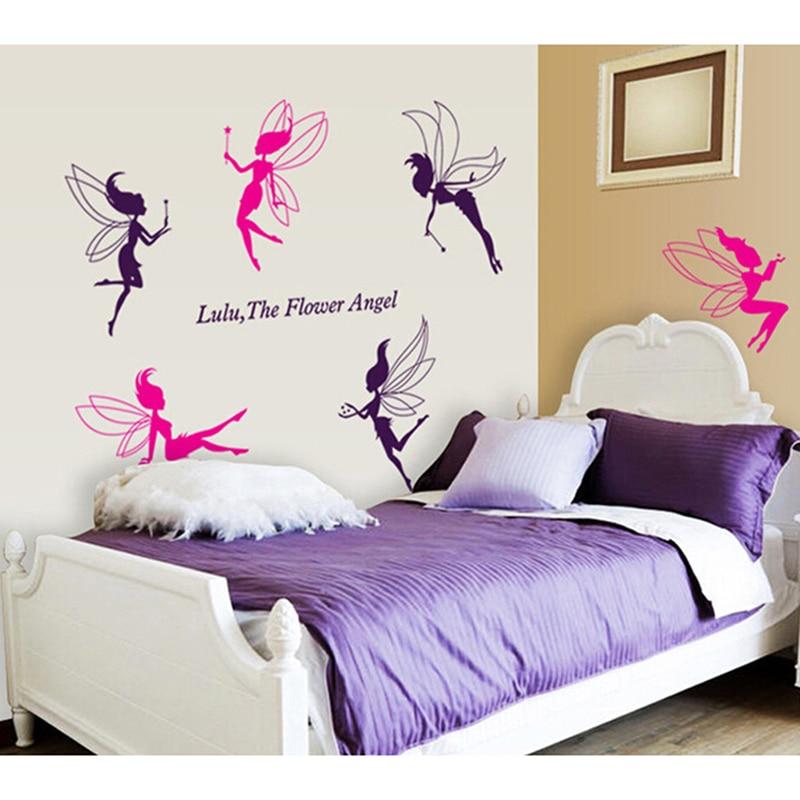 Cartoon Six Little Fairy Wall Sticker For Kids Room Cute Elf Home Wall Decors