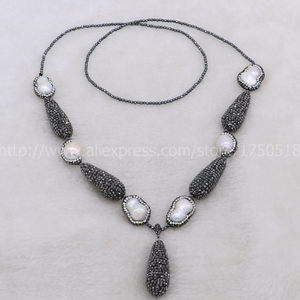 Image 4 - Hot! Bohemia necklace Natural pearl handcrafted druzy necklace & natural 2mm hematite necklace black drop shape bead pendant 700