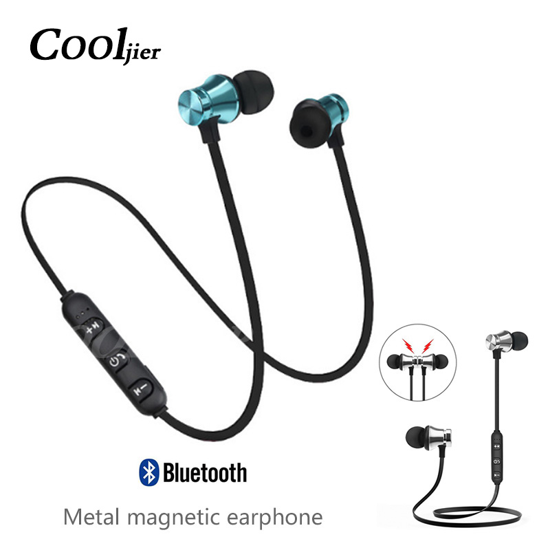 Magnetic attraction Bluetooth Earphone Sport running Stereo Wireless Bluetooth Headset Noise reduction Earbuds Earphone with mic(China)