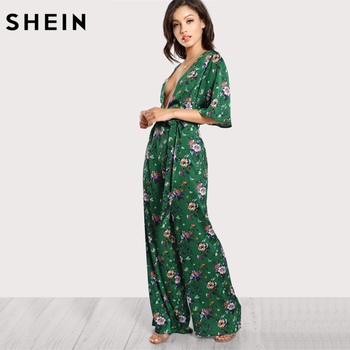 SHEIN Sexy Jumpsuits for Women Bell Sleeve Plunge Neck Self Belted Palazzo Jumpsuit Multicolor Half Sleeve Floral Jumpsuit 1