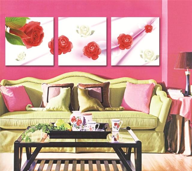 Branco Rosa Vermelha Pintura Da Lona Flores Bonitas Imagem Modular Home  Living Room Decor No Frame