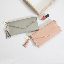 Long wallet ladies wallet tassel fashion purse card bag wallet female high quality clutch bag purse PU leather wallet цены