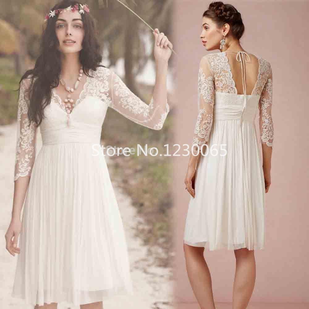 Vestido De Noiva 2018 Cheap Lace Short Wedding Gown With Three Quarter Sleeves Robe De Mariee Bridal Gowns Mother Bride Dresses