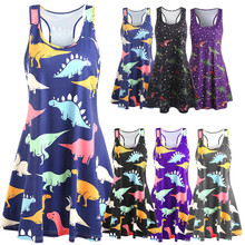 dinosaur elegant 2019 summer maxi dresses for womens vintage print dress women mama clothes party sleeveless