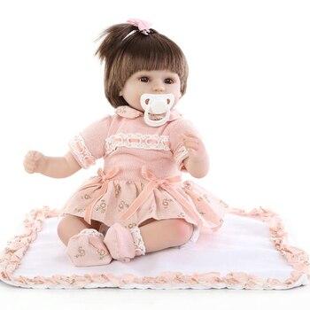 18''  Handmade silicone reborn dolls Real girl baby reborn dolls children gift bonecas brinquedos