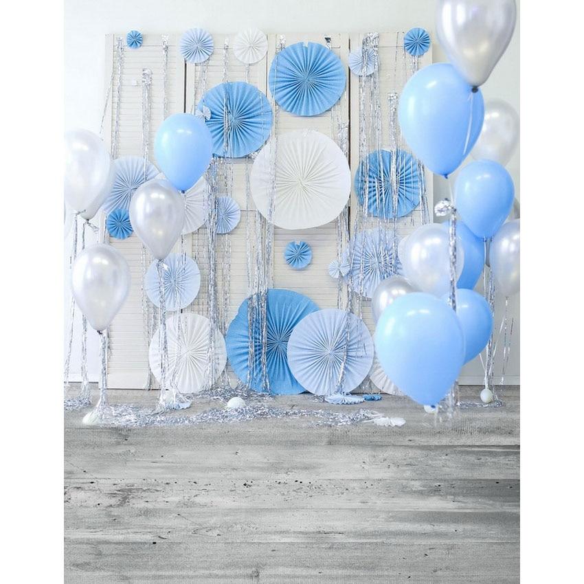 Seamless Vinyl Photography Backdrop White Blue Balloon Newborn Birthday Party Children