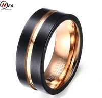 Fashion Black And Rose Gold Tungsten Steel Ring Wedding Bands 8MM Tungsten Carbide Rings For Men