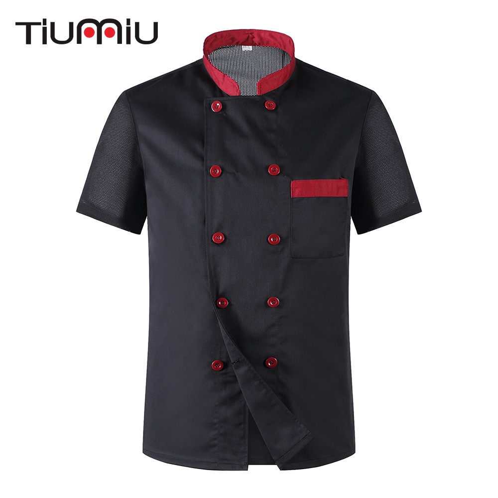 Hot Women Men Short Sleeve Breathable Mesh Patchwork Chef Cookwear Jacket Bakery Cuisine Workwear Top Kitchen Work Uniform M-3XL