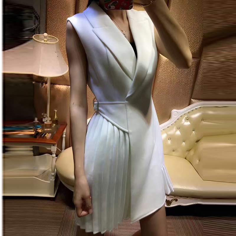 2019 Newest Fashion Women s Elegant Sleeveless Designing Solid Color Black White Notched Collar Draped Slim