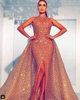 SuperKimJo 2018 High Neck Evening Dresses Robe De Soiree Detachable Skirt Champagne Arabic Evening Gowns Long