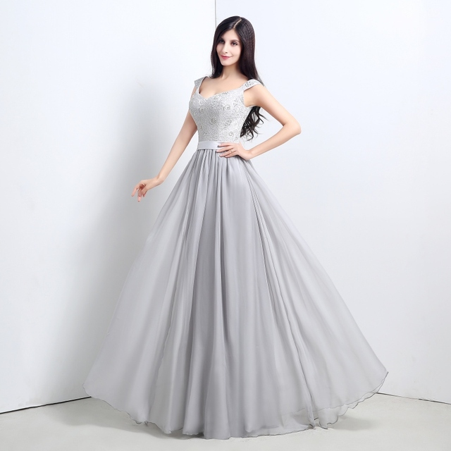 Hot Sale Cheap silver Bridesmaid Dresses Lace and chiffon A Line ...