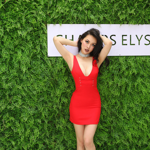 75f151053a5a Sexy Red Plunge V-neck Strap Dress Women Bodycon Club Party Skater Dress  Lace Up Sleeveless Mini Dress