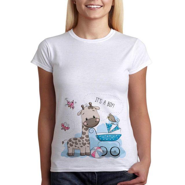 540a4afdc Embarazo divertido camiseta bebé jirafa ropa de maternidad Tees regalo  perfecto mujeres camiseta Cheap Sale camiseta