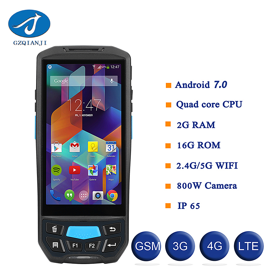 large screen 5.0 inch Android 7.0 OS 1D 2D Bluetooth Industrial PDA Portable Thermal handheld android pda barcode scanner pda