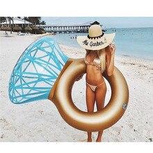 170 センチメートルインフレータブルフロートハワイ大人子供プール玩具夏のビーチパーティーの装飾フロートマットレスギフト 光沢のあるダイヤモンドリング水泳リング