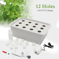 12 Holes Garden Plant Site Hydroponic Garden Pots Planters System Indoor Cabinet Box Grow Kit Bubble Nursery Pots