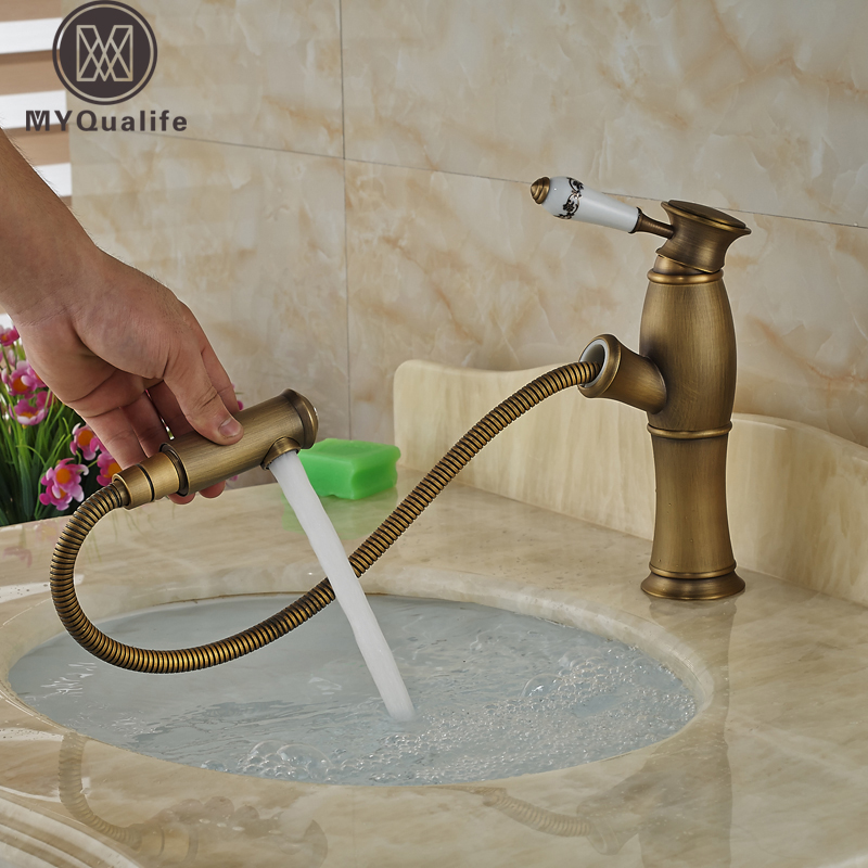 Здесь продается  Antique Brass Bathroom Pull Out Wahsbasin Mixer Taps Deck Mounted Ceramic Handle Kitchen Basin Faucet  Строительство и Недвижимость
